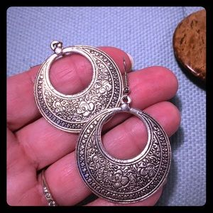 Large disc earrings - silver